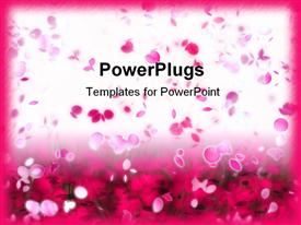 PowerPoint template displaying lots of pink colored flower petals floating on a white background