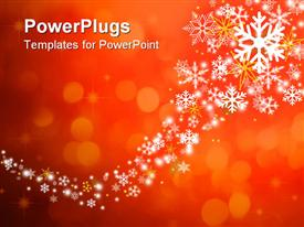 Christmas snowflakes over a red background powerpoint theme