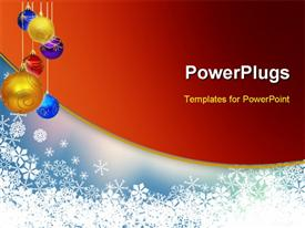 PowerPoint template displaying a number of colorful balls with reddish background