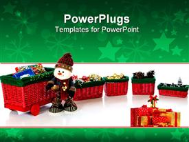 PowerPoint template displaying happy plush snowman standing by a colorful wicker train loaded with Christmas gifts and decoration in the background.