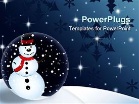 PowerPoint template displaying animated depiction of a snow man with shinning starts