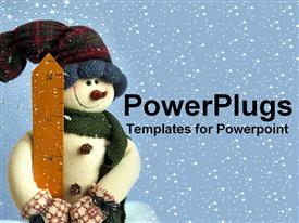PowerPoint template displaying stuffed snowman with snow flakes in the back in the background.