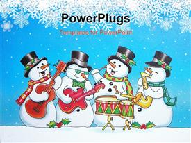 PowerPoint template displaying five musical snowmen playing in a band in the background.