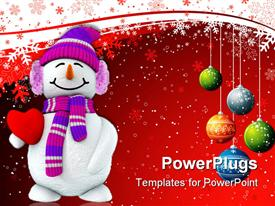 PowerPoint template displaying christmas theme with happy smiling snowman holding red heart and Christmas decorations colorful balls snowflakes on white and red background