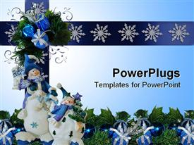 Composition of snowman ornaments for winter or Christmas holiday background powerpoint design layout