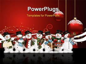 PowerPoint template displaying a lot of snowmen with celebration balls in background