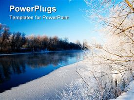 Beautiful landscape the river and hoarfrost on trees powerpoint design layout