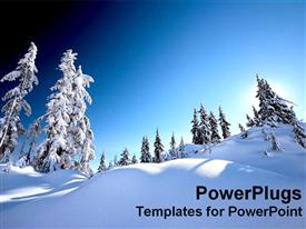 PowerPoint template displaying snow alps with white snow covered trees