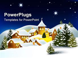 PowerPoint template displaying little snowy town. Winter @ Christmas time
