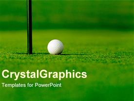 PowerPoint template displaying golf course with white golf ball next to hole