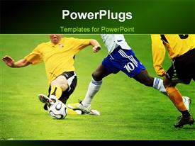 PowerPoint template displaying tackle by defensive soccer player on football pitch