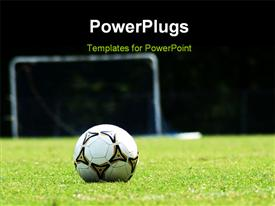 PowerPoint template displaying white soccer ball on green grass field