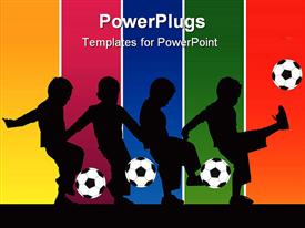 PowerPoint template displaying series of silhouettes showing a boy kicking a soccer ball