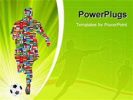 PowerPoint template displaying soccer Player made up of different flags in Global Soccer Event