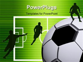PowerPoint template displaying bright green background with black horizontal lines and soccer players on pitch