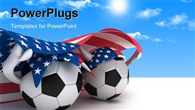 PowerPoint template displaying a number of footballs with an American flag with clouds in background