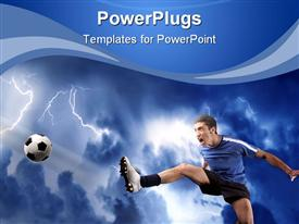 PowerPoint template displaying soccer player shooting ball with risen foot on lightning stormy background