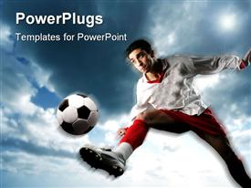 PowerPoint template displaying soccer player in uniform playing soccer during the day