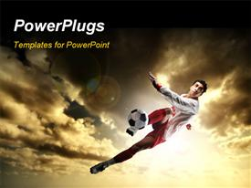 PowerPoint template displaying a uniformed football player kicking a soccer ball mid-air
