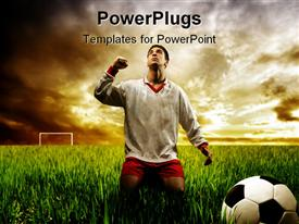 PowerPoint template displaying soccer player depicting the victory in the ground of life