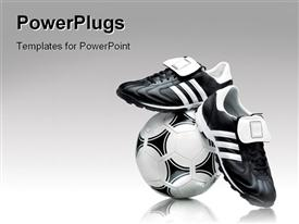 PowerPoint template displaying soccer footwear and ball over a grey gradient background