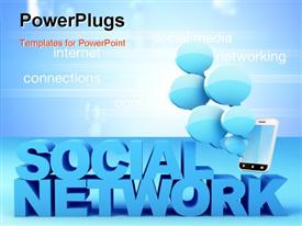 PowerPoint template displaying smartphone with blue bubbles and text SOCIAL NETWORK with related terms