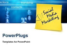PowerPoint template displaying social Media marketing concept with post it in the background.