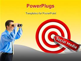 PowerPoint template displaying social Media Concept. Red dart hitting a target. Vector sign in the background.