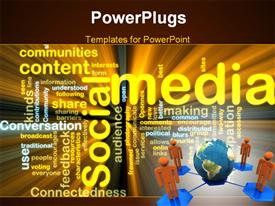 PowerPoint template displaying four orange figures connected to planet Earth in corer of Social Media word cloud