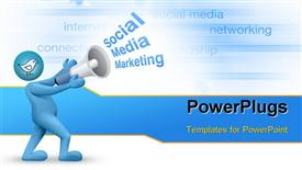 PowerPoint template displaying social Media marketing concept with business keywords in background