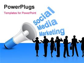 PowerPoint template displaying loudspeaker announcing Social Media Marketing to group of silhouettes