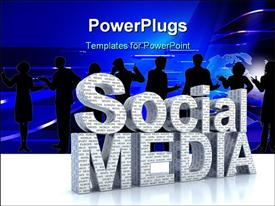 PowerPoint template displaying social Media word 3D concept in the background.