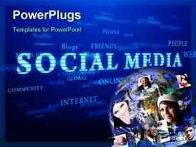 Social media. Words cloud on blue background template for powerpoint