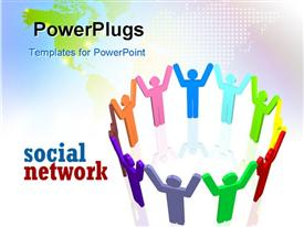 PowerPoint template displaying social network depiction with colored 3D people holding hands in circle