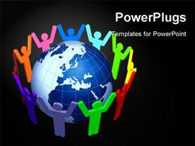 PowerPoint template displaying social network depiction with people holding hands around earth globe