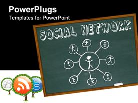 PowerPoint template displaying a number of figures connected on a blackboard to depict social network