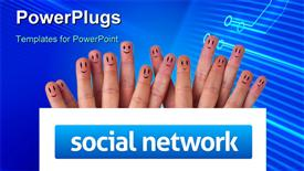 Happy group of finger smiley holding whiteboard with social network sign presentation background