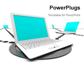PowerPoint template displaying a number of laptops connected to each other