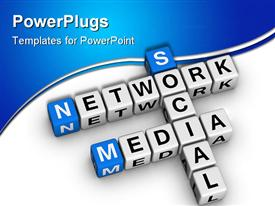 PowerPoint template displaying social media network in the form of boxes brought together