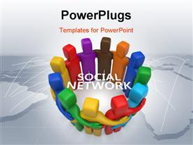 PowerPoint template displaying a number of people in colorful form with the words social network