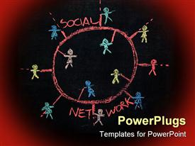 PowerPoint template displaying social Network connecting people sketch on a blackboard in the background.