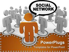 PowerPoint template displaying social network depicted by figure in forefront speaking the words SOCIAL NETWORK in the background.