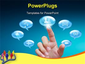 PowerPoint template displaying conversation bubbles with various icons and finger touching social network option
