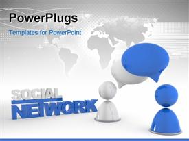 PowerPoint template displaying two people thinking about social network and map in the background
