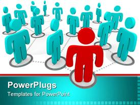 PowerPoint template displaying red figure stands at the forefront of a group of blue figures all interconnected in a social network in the background.