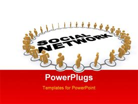 PowerPoint template displaying a number of people in circle with the word social network