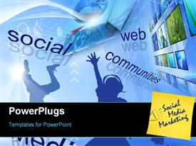PowerPoint template displaying social media networks - Global and Communication concept