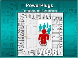 PowerPoint template displaying animated red and blue human figures with social network text