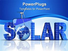 PowerPoint template displaying 3D word solar with Globe instead of letter O, solar panel and windmill on blue and white background