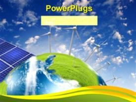 PowerPoint template displaying alternative energy source with solar panels and wind vanes